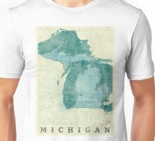 Michigan Map Blue Vintage Unisex T-Shirt