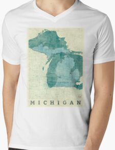Michigan Map Blue Vintage Mens V-Neck T-Shirt