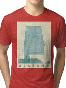 Alabama Map Blue Vintage Tri-blend T-Shirt