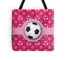 Football Soccer Ball Sport Athletics Fun Pink Pattern Tote Bag