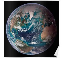 A full view of Earth showing global data for land surface, polar sea ice, and chlorophyll. Poster