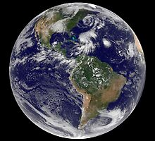 View of the full Earth and four storm systems. by StocktrekImages