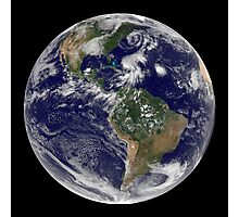 View of the full Earth and four storm systems. Photographic Print