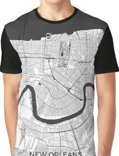 New Orleans Map Gray Graphic T-Shirt