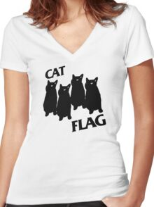Black Flag Cat Women's Fitted V-Neck T-Shirt