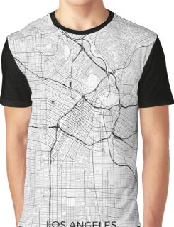 Los Angeles Map Gray Graphic T-Shirt