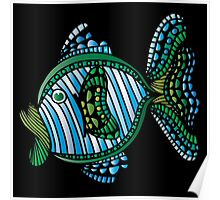Blue Green Fish Poster