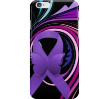 Purple Awareness Ribbon with Decoravtive Floral  iPhone Case/Skin