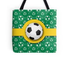 Football Soccer Australian Colours Green Gold Ball Pattern Tote Bag