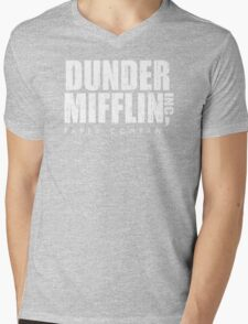 DUNDER MIFFLIN Mens V-Neck T-Shirt