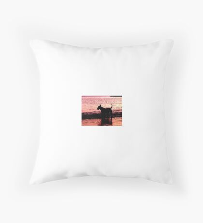 English Bull terrier silhouette  Throw Pillow