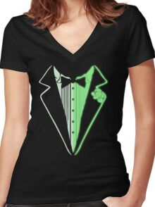 Glow In The Dark Tuxedo Women's Fitted V-Neck T-Shirt