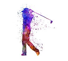 man golfer swing silhouette Photographic Print