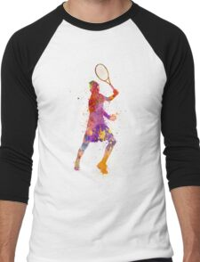 tennis player celebrating in silhouette 01 Men's Baseball ¾ T-Shirt