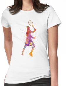 tennis player celebrating in silhouette 01 Womens Fitted T-Shirt
