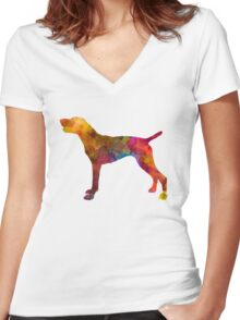 German Shorthaired Pointer in watercolor Women's Fitted V-Neck T-Shirt
