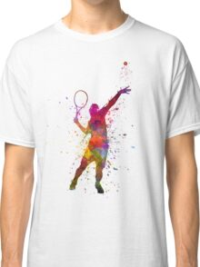 tennis player at service serving silhouette 01 Classic T-Shirt