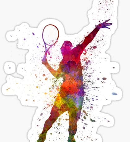 tennis player at service serving silhouette 01 Sticker