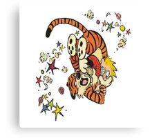 calvin-and-hobbes-fighting Canvas Print