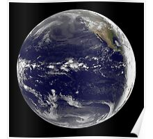 Satellite view of Earth centered over the Pacific Ocean.  Poster