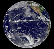Satellite image of Earth centered over the Pacific Ocean. by StocktrekImages