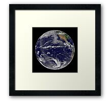 Satellite image of Earth centered over the Pacific Ocean. Framed Print