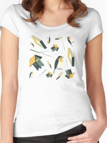 Flying Birdhouse (Pattern) Women's Fitted Scoop T-Shirt