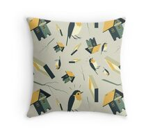 Flying Birdhouse (Pattern) Throw Pillow