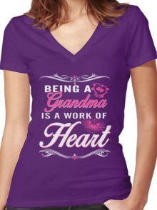 Grandma is a word of heart Women's Fitted V-Neck T-Shirt