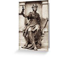 roman goddess presents wreath Greeting Card