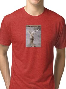 White Duck Flapping Wings on Water Tri-blend T-Shirt