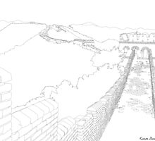 Detailed Outline Illustrations- 7 New Wonders Of The World  by kieranbrowne