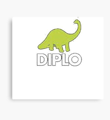 Dinosaur Diplo Green and White Canvas Print