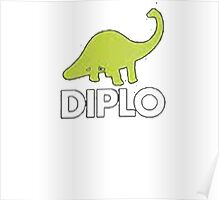 Dinosaur Diplo Green and White Poster