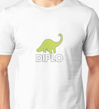 Dinosaur Diplo Green and White Unisex T-Shirt