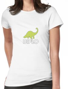 Dinosaur Diplo Green and White Womens Fitted T-Shirt