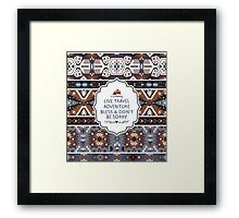 Decorative noir pattern in tribal style Framed Print