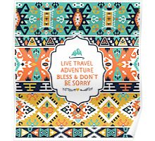 Decorative bright pattern in tribal style Poster