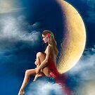 beautiful woman night fairy on moon by Alena Lazareva