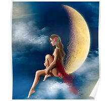 beautiful woman night fairy on moon Poster