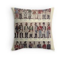 Illustrations of military uniforms from  by René L'Hôpital. Throw Pillow
