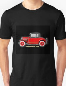 A digital painting of my vector drawing of The Ford Model A of the 1930s in red Unisex T-Shirt