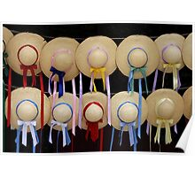 Straw Hats and Ribbons Poster
