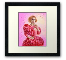 beautiful Fantasy fairy woman with rose  flowers Framed Print