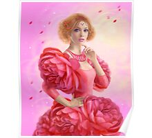 beautiful Fantasy fairy woman with rose  flowers Poster