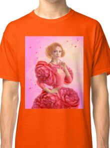 beautiful Fantasy fairy woman with rose  flowers Classic T-Shirt