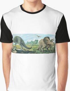 Tyrannosaurus Rex & Triceratops Frieze Graphic T-Shirt