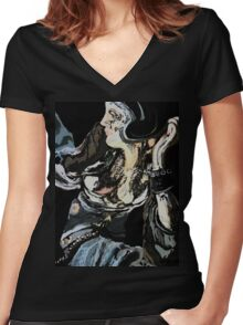 the big woman abstract Women's Fitted V-Neck T-Shirt