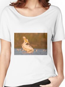 Pelicans in the water Photographed in Ein Afek Nature Reserve, Israel in November Women's Relaxed Fit T-Shirt