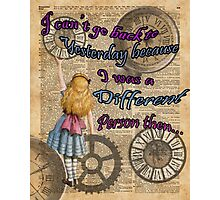 Alice In Wonderland Travelling in Time Photographic Print